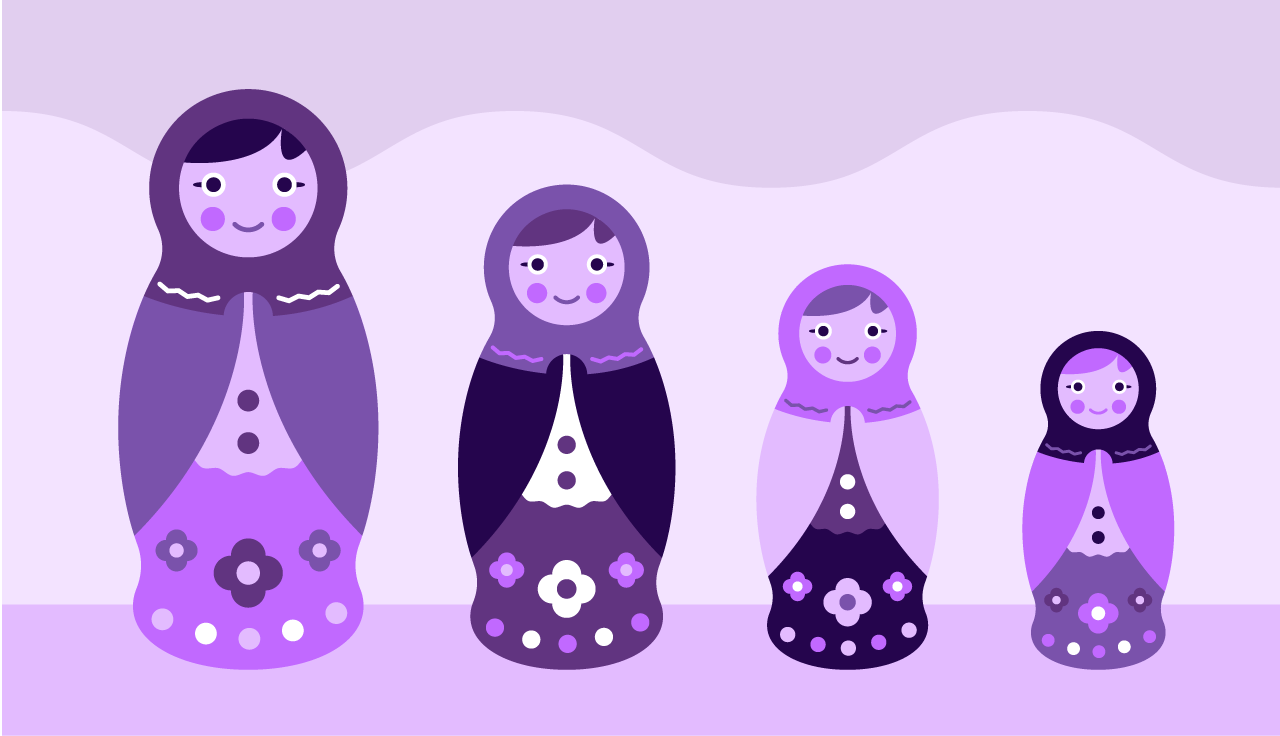 a full family of babushka dolls